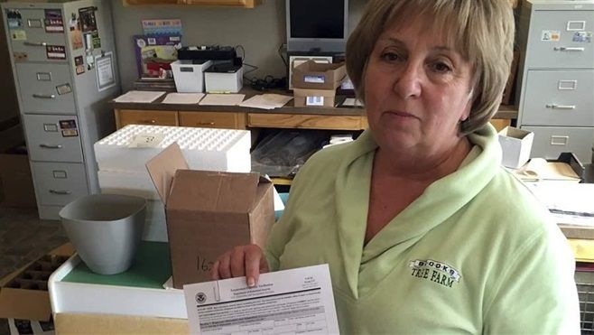 Kathy LeCompte, owner of an Oregon farm, shows a form employees must fill out verifying their employment eligibility. Only ni