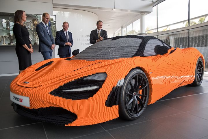 Prince William saw model of a McClaren 720S sports car made entirely out of Lego bricks.