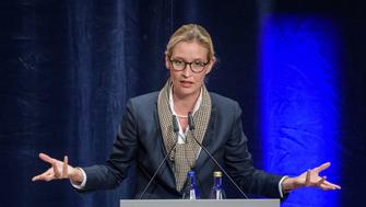 PFORZHEIM, GERMANY - SEPTEMBER 06: Co-lead candidate of the right-wing Alternative for Germany (AfD) political party Alice Weidel speaks during an AfD election campaign event on September 6, 2017 in Pforzheim, Germany. Germany will hold federal elections on September 24 and the AfD currently has approximately 10% support in polls.  (Photo by Thomas Lohnes/Getty Images)