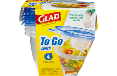"Glad To Go Lunch containers, <a href=""https://www.amazon.com/Glad-Food-Storage-Containers-Lunch/dp/B00SHJ87CO?tag=thehuffingt"