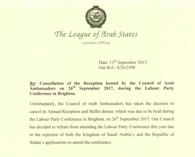 Arab Ambassadors Event Cancelled After Saudi Arabia And Sudan 'Barred From Labour