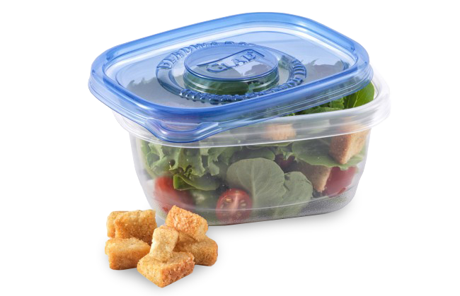 "Glad Soup &amp; Salad container, <a href=""https://www.amazon.com/Glad-Food-Storage-Containers-Salad/dp/B000RA6GMY?tag=%7Btag%7D"" target=""_blank"">$2.75 for five on Amazon</a>"