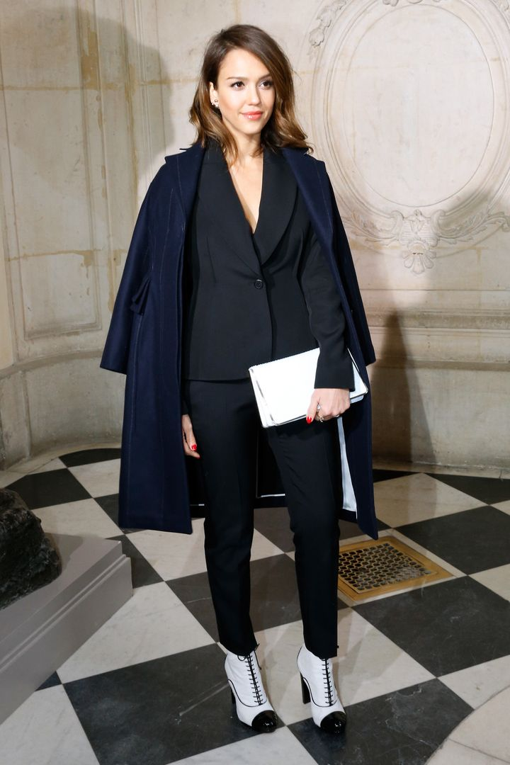 Jessica Alba mixing and matching at the Christian Dior show onFeb. 28, 2014 in Paris, France.