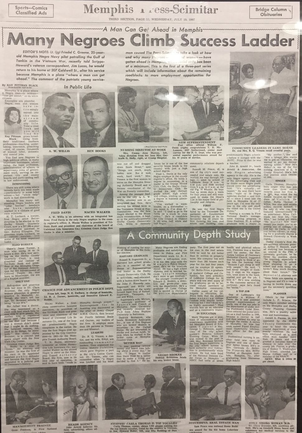 A 1967 edition of the Memphis Press-Scimitar. The story on black businessmen featured Darrell Cobbins' grandfather
