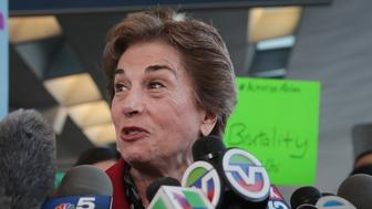 CHICAGO, IL - APRIL 11:  U.S. Representative Jan Schakowsky (D-IL) joins demonstrators speaking out against police brutality outside the United Airlines terminal at O'Hare International Airport on April 11, 2017 in Chicago, Illinois. United Airlines has been struggling to restore their corporate image after a cell phone video was released showing a passenger being dragged from his seat and bloodied by airport police after he refused to leave a reportedly overbooked flight.  (Photo by Scott Olson/Getty Images)