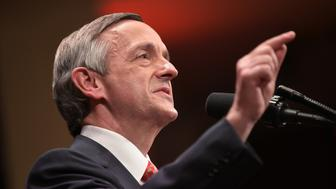 Pastor Robert Jeffress, pastor of the First Baptist Church in Dallas, introduces US President Donald Trump at the Celebrate Freedom concert at the John F. Kennedy Center for the Performing Arts in Washington, DC on  July 1, 2017. / AFP PHOTO / MANDEL NGAN        (Photo credit should read MANDEL NGAN/AFP/Getty Images)
