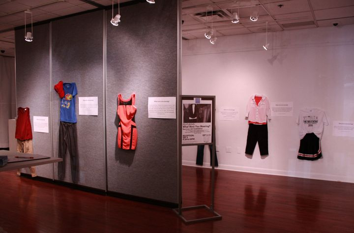 """A photo of the """"What Were You Wearing?"""" gallery atthe University of Kansas."""