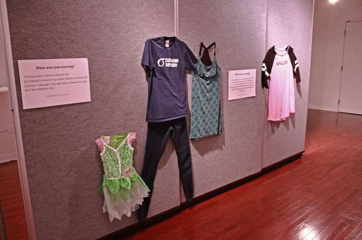 A photo of three outfits for one story. Brockman told HuffPostone woman was assaulted three times throughout her life, so she included three outfits for her story.