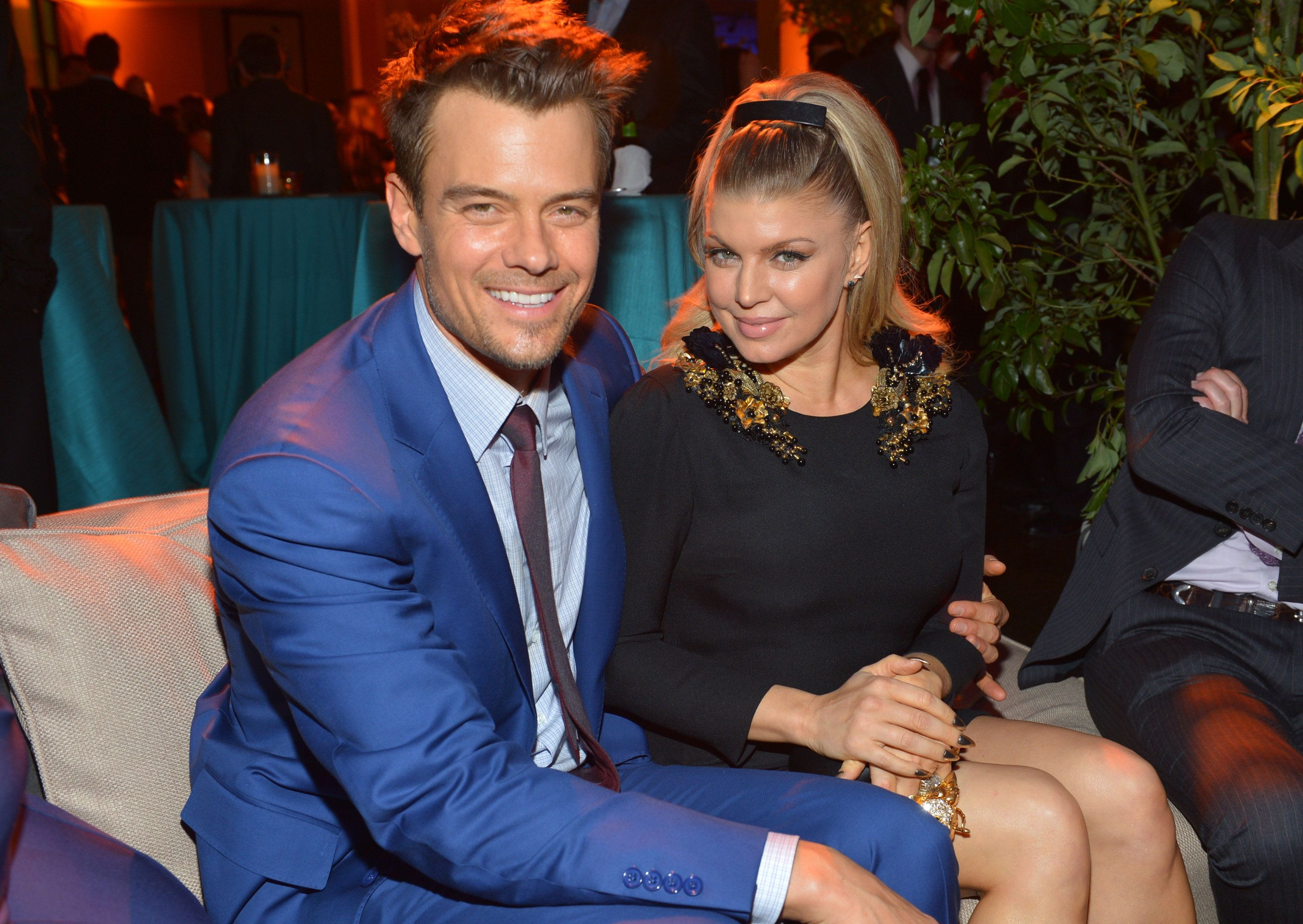 HOLLYWOOD, CA - FEBRUARY 05:  Actor Josh Duhamel (L) and actress/singer Fergie attend the premiere of Relativity Media's 'Safe Haven' after party at The Terrace At Hollywood & Highland on February 5, 2013 in Hollywood, California.  (Photo by Alberto E. Rodriguez/Getty Images for Relativity Media)
