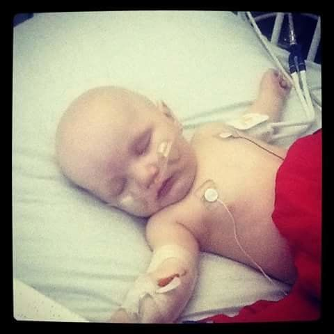"""""""This was my son Skylo when he was 10 months old. In this photo he was receiving a red blood cell transfusion after having a"""