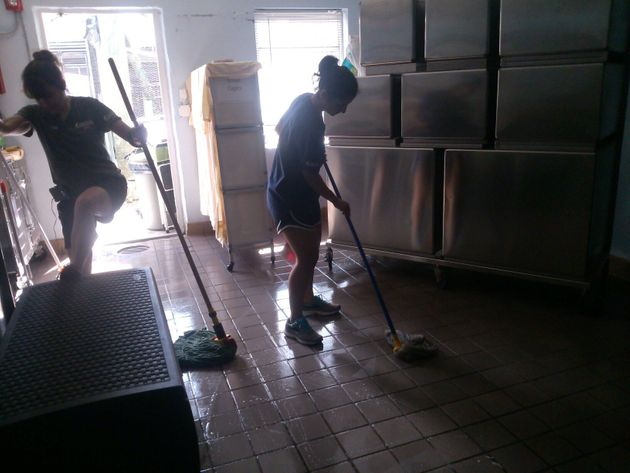 In addition to caring for the animals, the South Florida Wildlife Center staff pitched in to clean up...