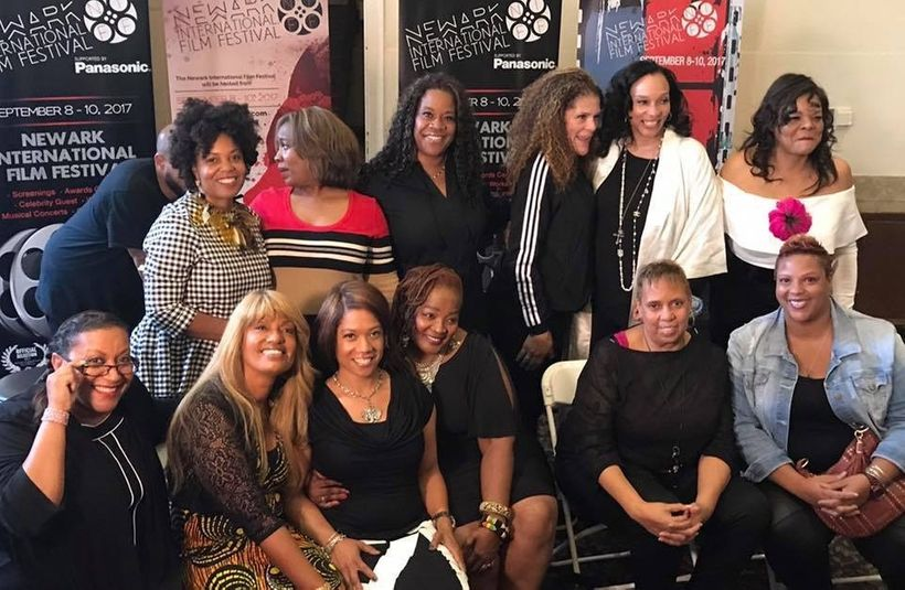 <em>Women Behind The Mic</em> panelists with moderator Jamie Foster Brown of <em>Sister 2 Sister </em>magazine at the Newark