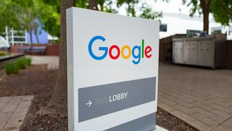 Google signage with logo at the Googleplex, headquarters of Google Inc in the Silicon Valley town of Mountain View, California, April 7, 2017. (Photo via Smith Collection/Gado/Getty Images).