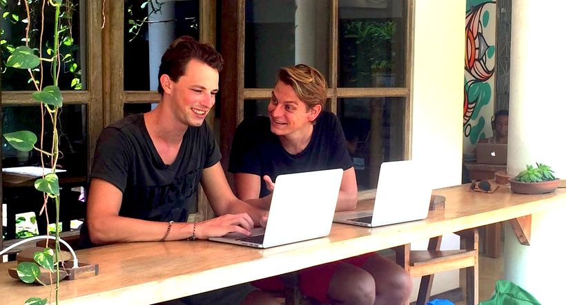 Coworkparadise Co-founders, Lars Blokdijk and Michael Tesselaar, co-working in Bali, Indonesia.