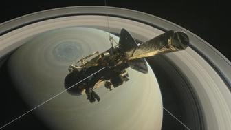 The spacecraft Cassini is pictured above Saturn's northern hemisphere prior to making one of its Grand Finale dives in this NASA handout illustration obtained by Reuters August 29, 2017.   NASA/Handout via REUTERS  ATTENTION EDITORS - THIS IMAGE WAS PROVIDED BY A THIRD PARTY.