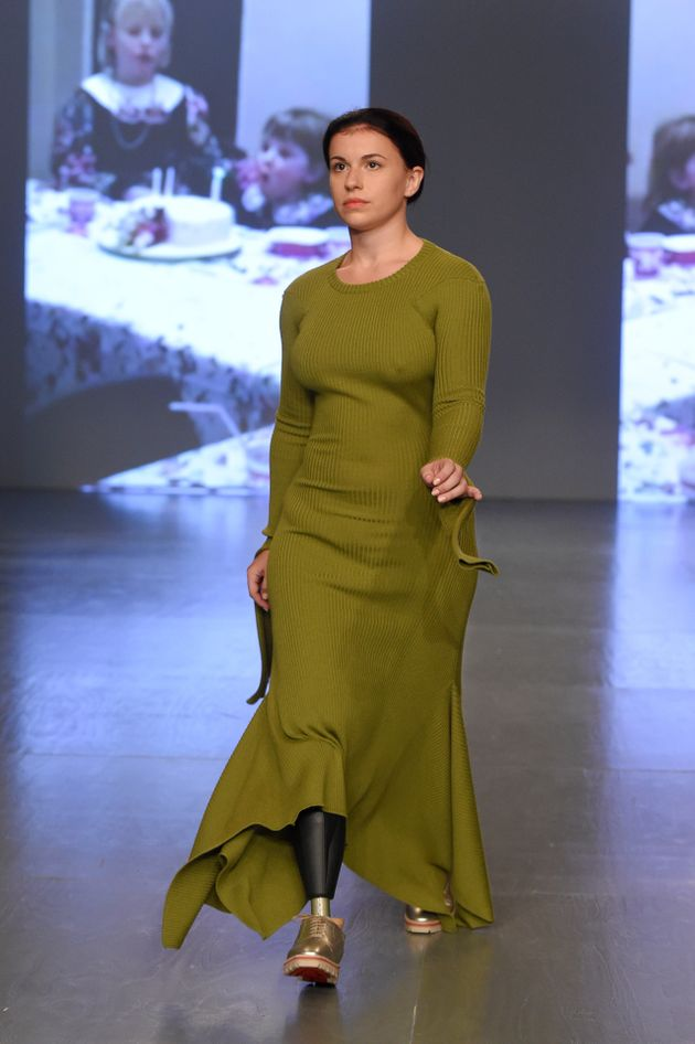 Vicky Balchwalks the runway at the Teatum Jones show during London Fashion Week on 15 September