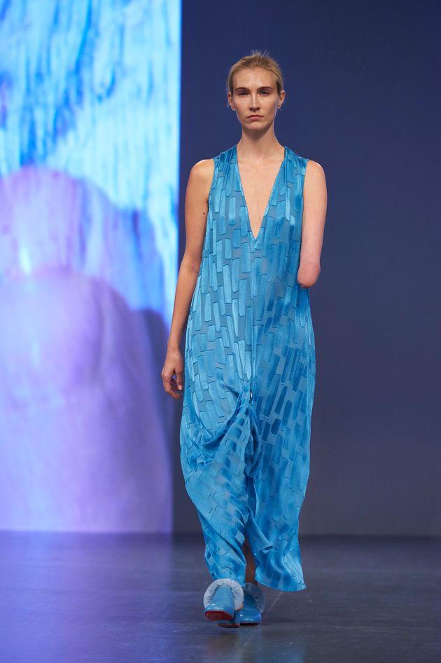 Model Kelly Knox on the Teatum Jones runway at London Fashion Week on 15 September