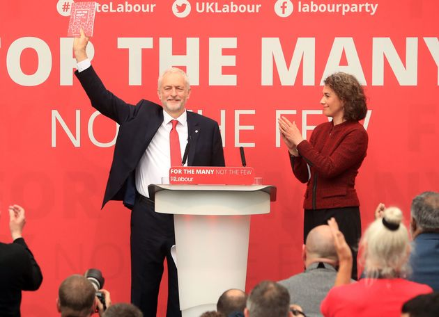 Jeremy Corbyn with Sarah Champion, at the launch of the Labour Party manifesto for the General