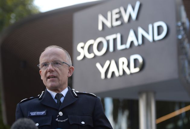 Metropolitan Police Assistant Commissioner Mark Rowley speaks to the media outside New Scotland Yard...