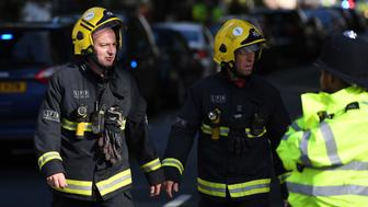 LONDON, ENGLAND - SEPTEMBER 15:  Fireman are seen near the police cordon at Parsons Green Underground Station on September 15, 2017 in London, England. Emergency services are investigating reports of an explosion at the West London tube station.  (Photo by Chris J Ratcliffe/Getty Images)
