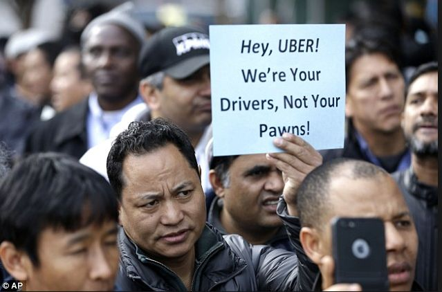 Uber drivers strike outside their New York offices