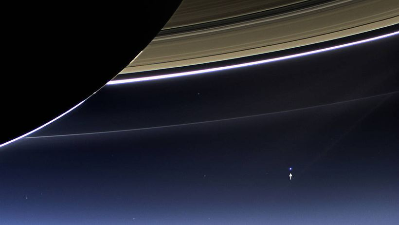 Earth as seen from somewhere near Saturn.
