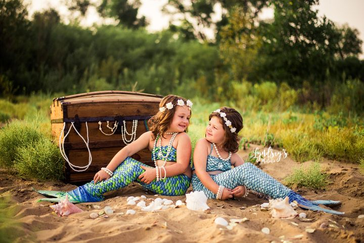 Five-year-old Sophia and 4-year-old Haidyn love mermaids.