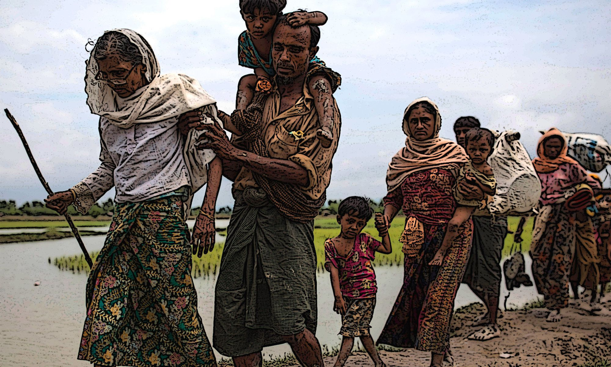 Rohingya Muslim refugees making their way into Bangladesh from Myanmar