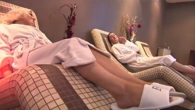 Still from a promotional footage of customers at Bannatyne's gym in Durham using the spa