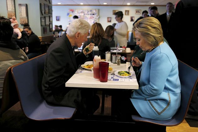 Hillary and Bill Clinton eat breakfast at Chez Vachon restaurant in Manchester, New Hampshire on February...