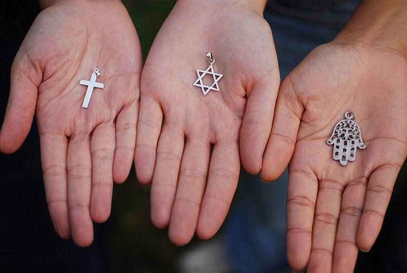 Symbols of the three great monotheisms: Christianity, Judaism and Islam