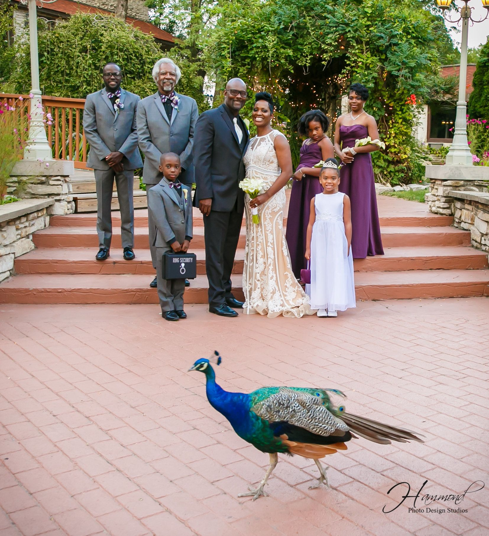 The wedding party included (from left to right): Denzel Goins (the bride's son), Albert Conway (the groom's father and