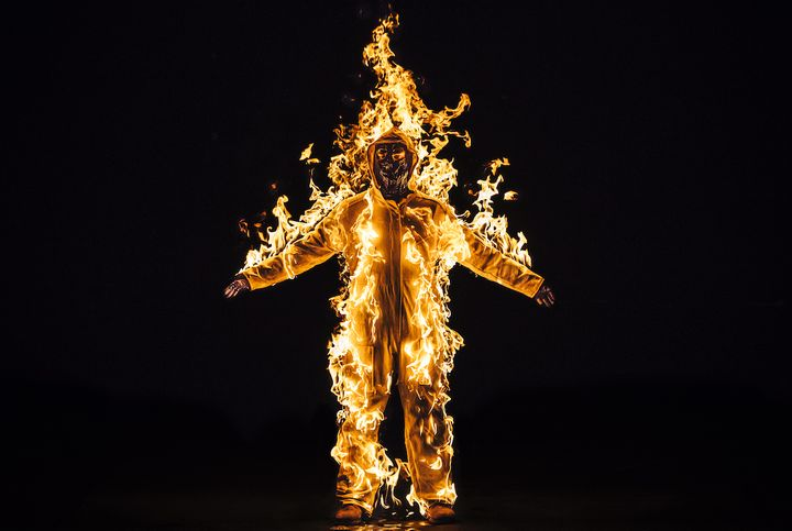 Inextinguishable Fire performance still from the National Theatre, London UK, Spill Festival of Performance 2015