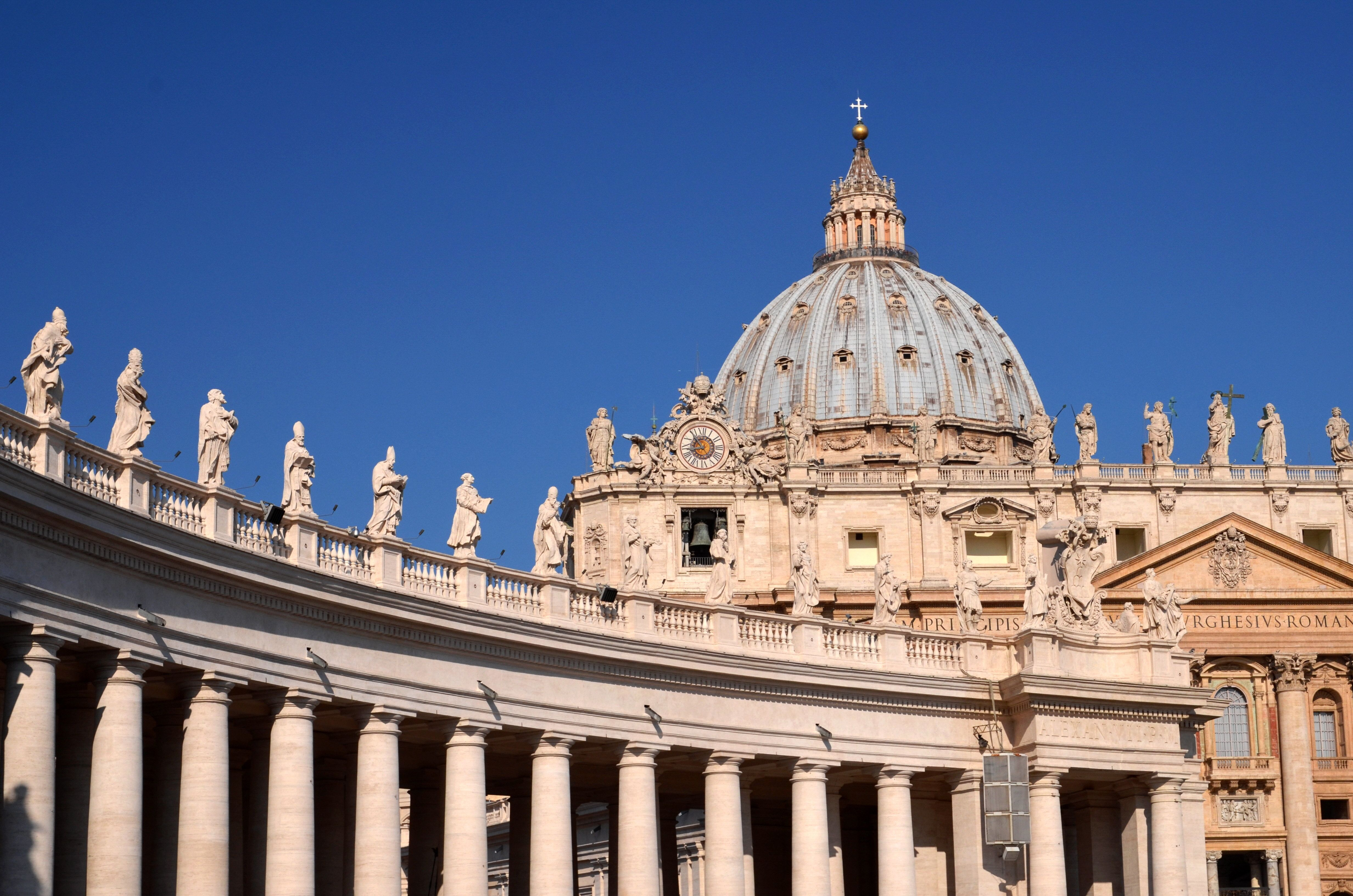 Vatican City, Vatican - August 22, 2014: Monumental St. Peters Basilica in Vatican City. St. Peters Basilica is papal late renaissance basilica consecrated in 1626.