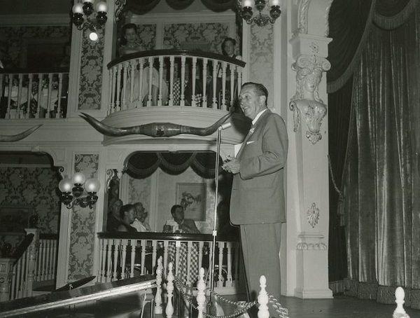 Walt Disney at the Golden Horseshoe in Disneyland, July 1955