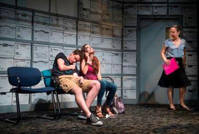 Peter (Devin S. O&#39;Brien), Karlie (Alix Cuadra), and Caroline (Jamie Jones) in a scene from<strong><em>Luna Gale</em></st