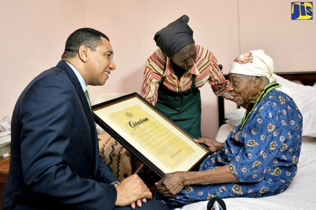 Violet Mosse-Brown was known as Aunt V. Prime Minister Andrew Holness gave her the Prime Minister's Medal of Appreciati