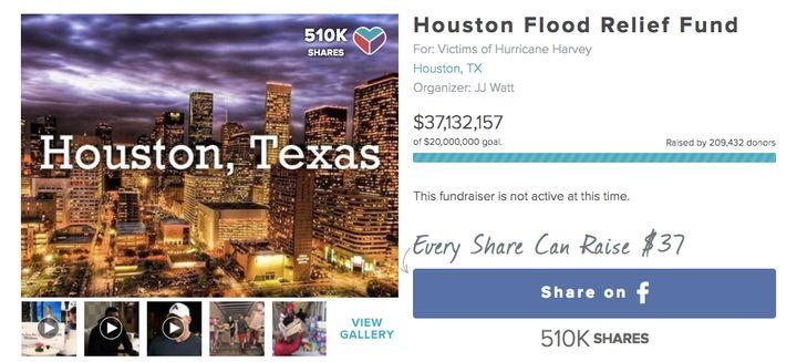 Screenshot of Watt's YouCaring fundraiser site.