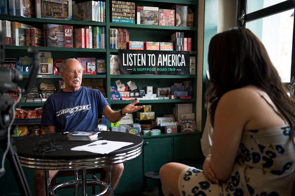 B.C. Crawford speaks with Jenna Amatulli during an interview in the Off Square Books store.