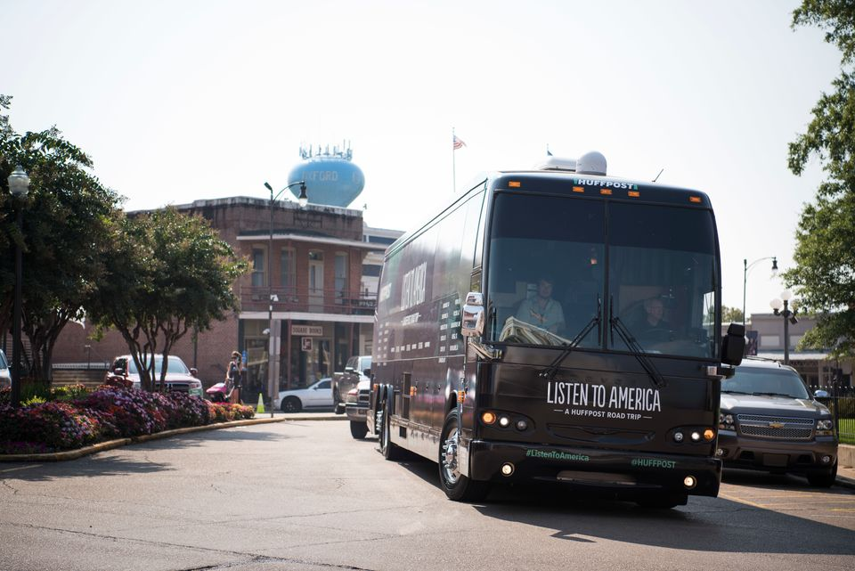 "The HuffPost tour bus rolls into Oxford, Mississippi, on Sept. 15, 2017, as part of ""Listen To America: A HuffPost Road Trip."