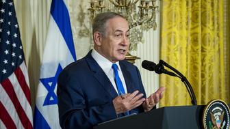 Benjamin Netanyahu, Israeli's prime minister, speaks during a news conference with U.S. President Donald Trump, not pictured, in the East Room of the White House in Washington, D.C., U.S., on Wednesday, Feb. 15, 2017. Netanyahu is trying to recalibrate ties with Israel's top ally after eight years of high-profile clashes with former President Barack Obama, in part over Israel's policies toward the Palestinians. Photographer: Pete Marovich/Bloomberg via Getty Images