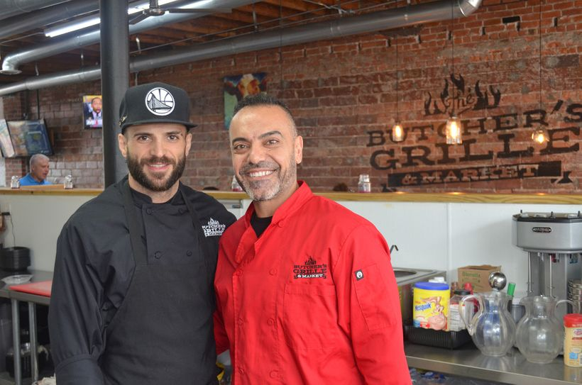 "Samer Saad , owner of the ""Butcher's Grille & Market"" in Dearborn, Mich., with his executive chef, Jawdat Hashem."