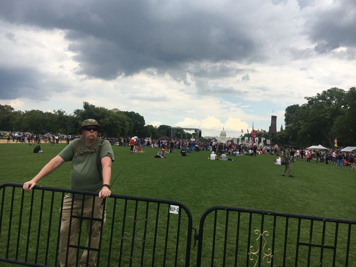 "The ""Mother of All Rallies,"" seen here from its rear perimeter, drew just a few hundred people."
