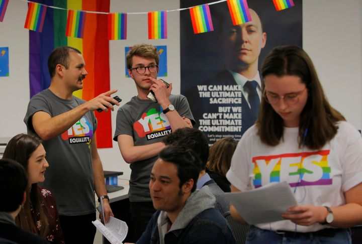 Volunteers talk in call center for the Yes campaign in Australia's gay marriage vote.