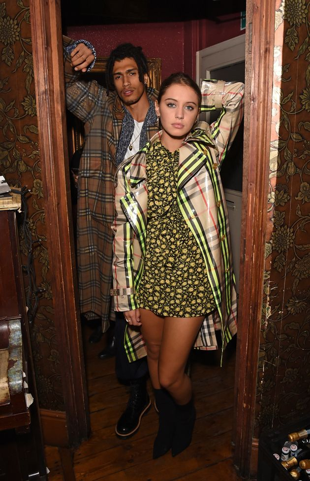 Iris Law posing with model Kelvin Bueno at the party celebratingBurberrys September collection...