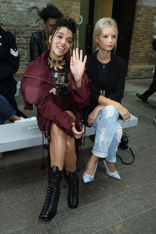 FKA Twigs and Lottie Moss attend the VERSUS show during London Fashion Week on 17 September