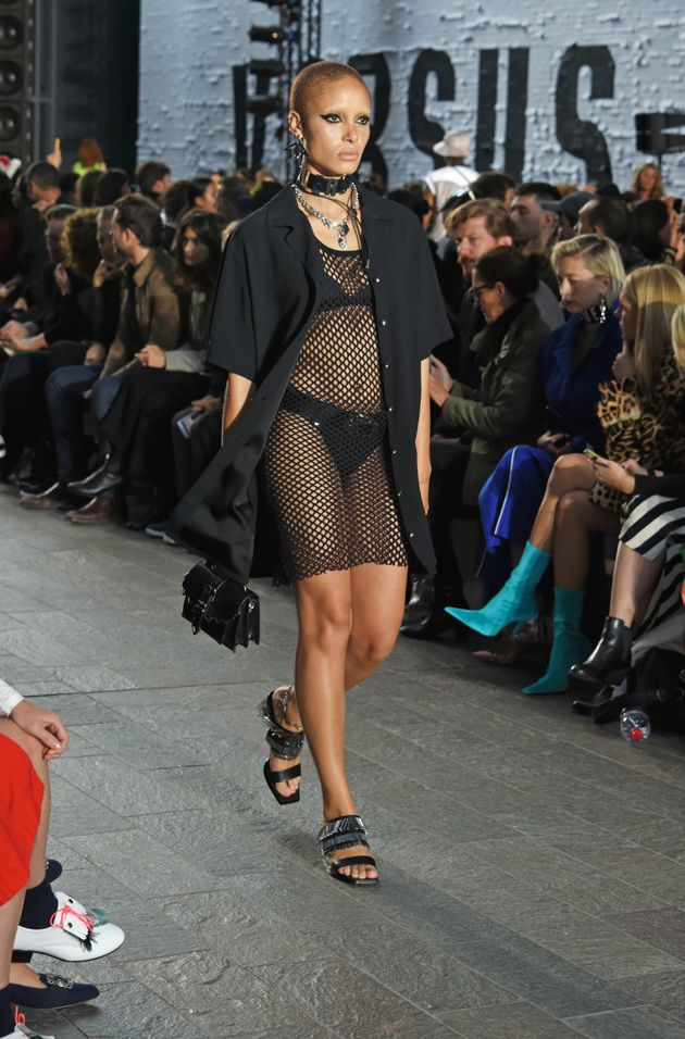 London Fashion Week: Adwoa Aboah Gives The Nearly-Naked Trend A Streetwear Edge On The Versus