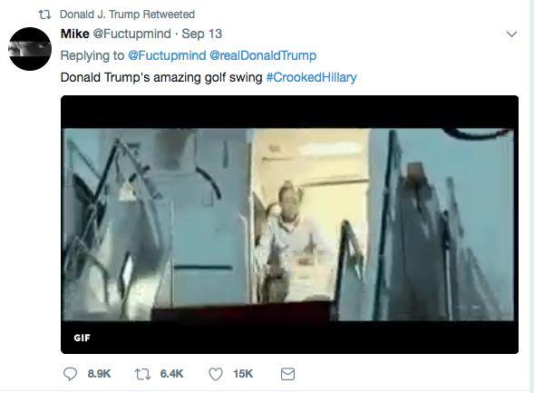 Donald Trump Retweets Meme Of Him Hitting Golf Ball At Hillary