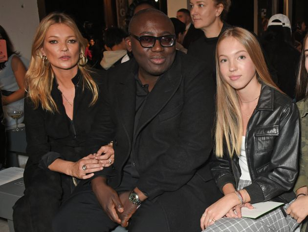 Edward Enninful with Kate Moss and her daughter Lila Grace Moss Hack on the Topshop FROW on 17