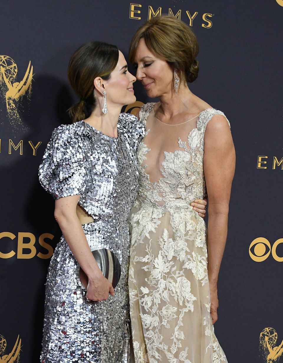 Actors Sarah Paulson (L) and Allison Janney attend the 69th Annual Primetime Emmy Awards at Microsoft Theater on Sept. 17, 20